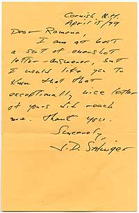 We offered this autograph letter signed by the reclusive author, responding to a young admirer of <i>The Catcher in the Rye</i>, in 2001.