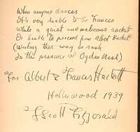 We offered this copy of the first printing, inscribed to the celebrated husband-and-wife screenwriting team of Frances Goodrich and Albert Hackett, in 2000.