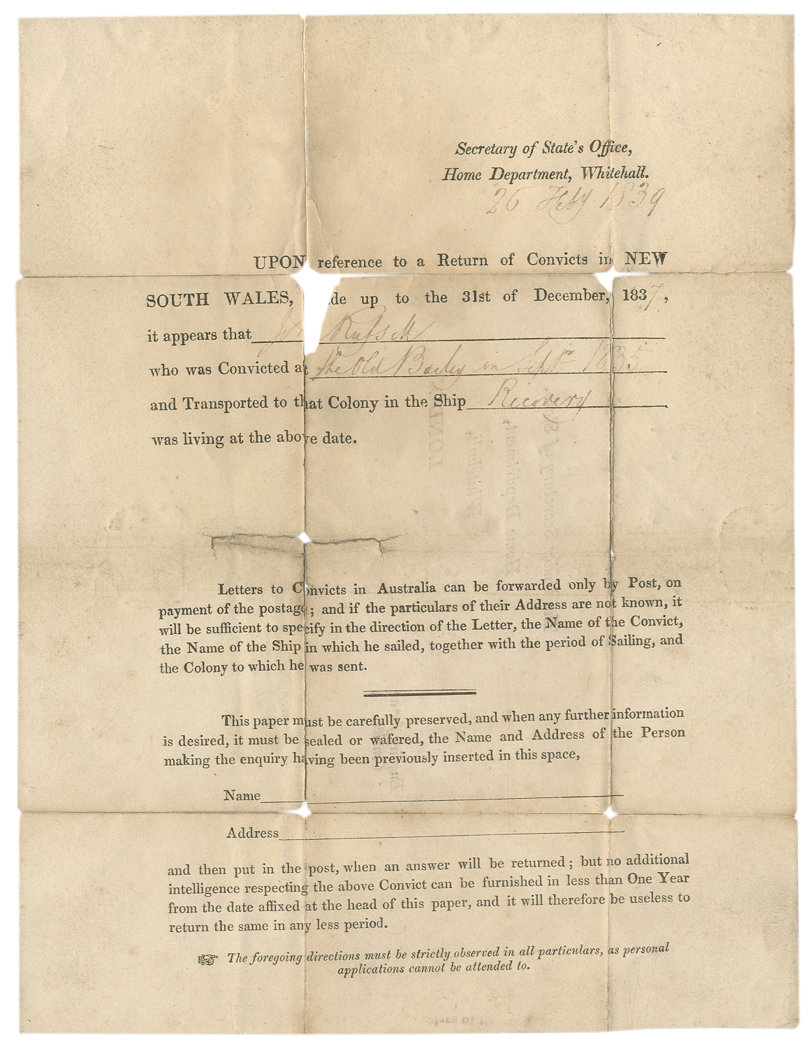 Letters and Petition Concerning a Convict Sent to Australia for a Petty  Crime on Between the Covers