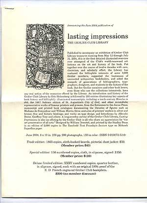Announcing the 2004 Publication of *Lasting Impressions*, The Grolier Club Library