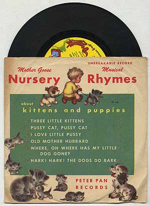 [Vinyl Record]: Mother Goose Nursery Rhymes About Kittens and Puppies