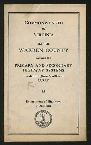 Commonwealth of Virginia: Map of Warren County showing the Primary and Secondary Highway System
