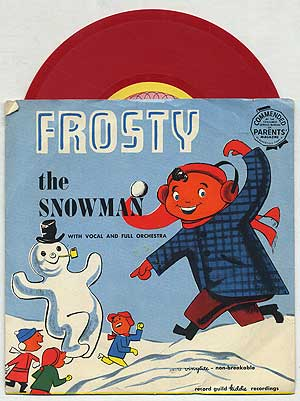 [Vinyl Record]: Frosty the Snowman with Vocal and Full Orchestra & Come All Ye Faithful: Record Guild Kiddie Recordings, 78 RPM