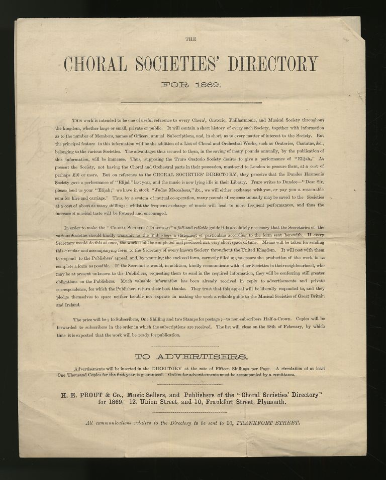 The Choral Societies' Directory For 1869