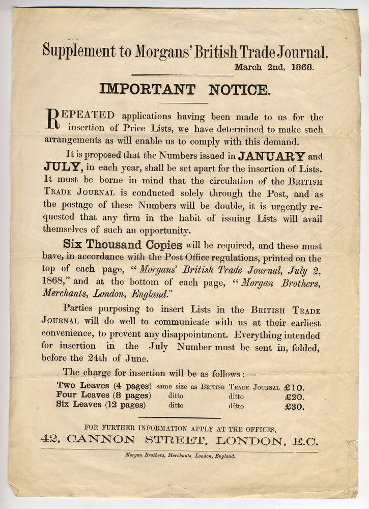 [Broadside]: Supplement to Morgans' British Trade Journal. March 2nd, 1868. Important Notice.