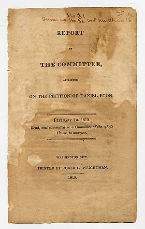 Report of The Committee, Appointed on the Petition of Daniel Boon