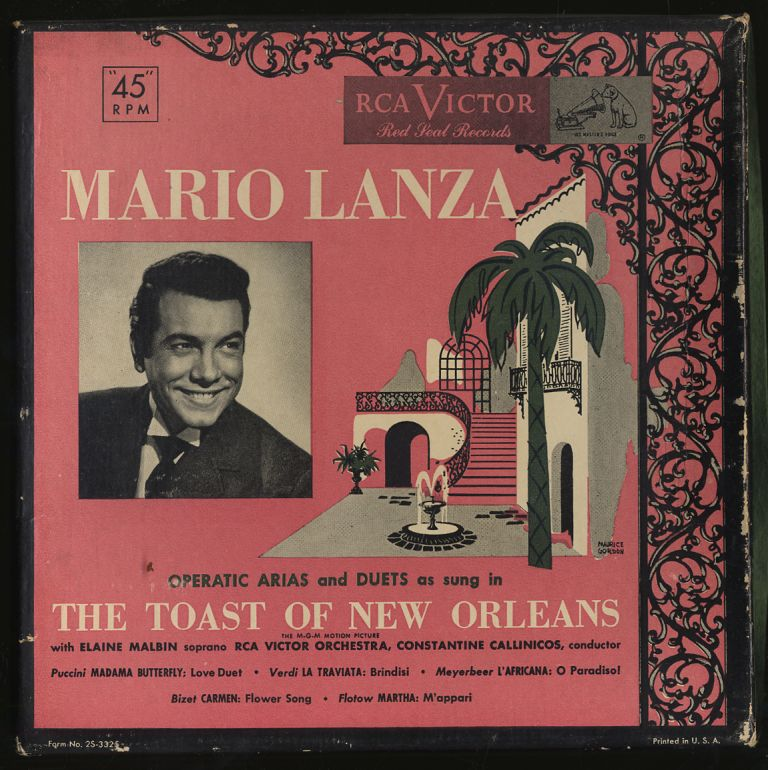 "[Vinyl Record]: Mario Lanza: Operatic Arias and Duets As Sung In ""The Toast of New Orleans"""