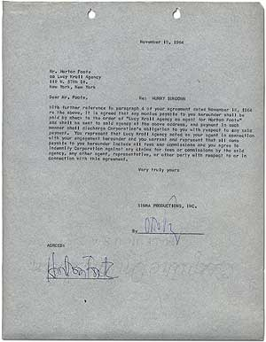 Typed Contract Signed. Horton FOOTE, Otto Preminger.