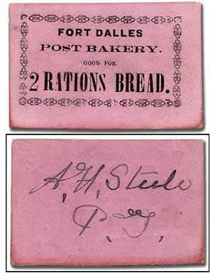 Army Bread Ration Ticket from Fort Dalles, Oregon Territory