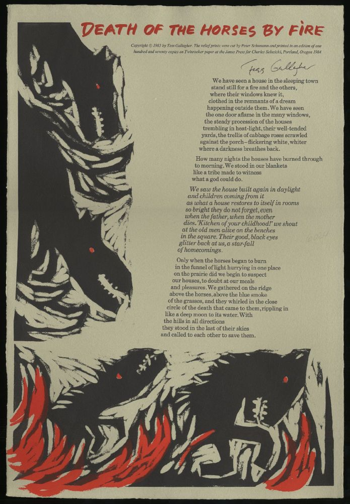 Death of the Horses by Fire. Tess GALLAGHER.