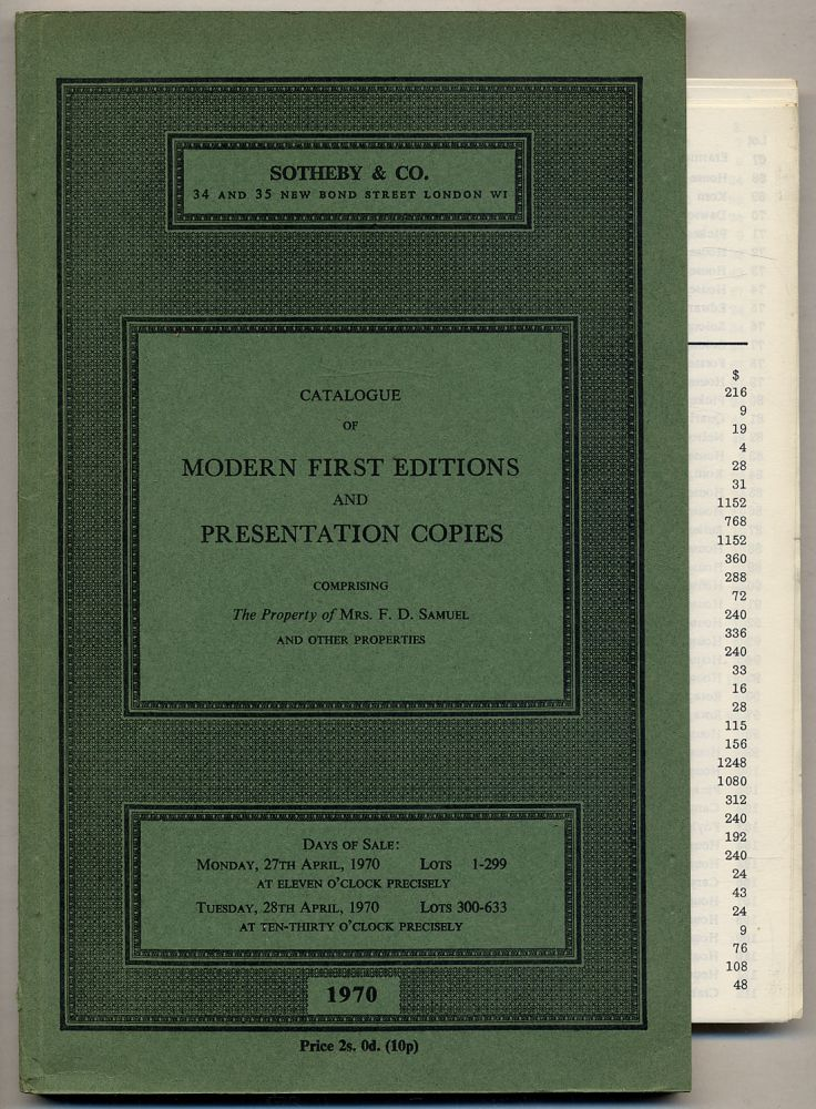 Catalogue of Modern First Editions and Presentation Copies