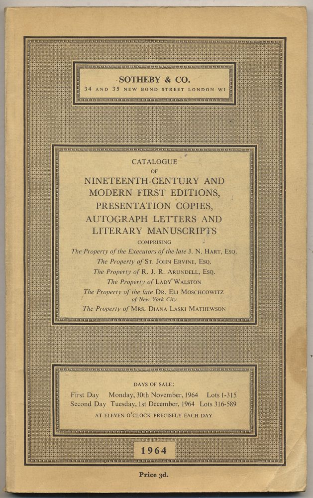 Catalogue of Nineteenth-Century and Modern First Editions, Presentation Copies, Autograph Letters and Literary Manuscripts: November/December, 1964