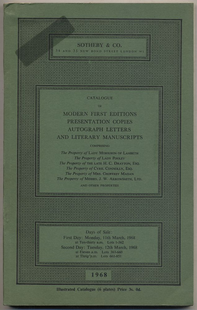 Catalogue of Nineteenth-Century and Modern First Editions, Presentation Copies, Autograph Letters and Literary Manuscripts: March, 1968