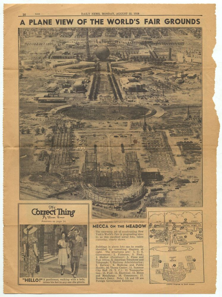 A Plane View of the World's Fair Grounds Daily News, Monday, August 22, 1938