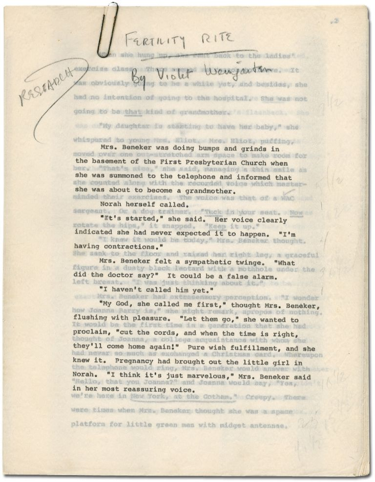 "[Manuscript]: ""Fertility Rite"" [published in] The Saturday Evening Post. Violet WEINGARTEN."