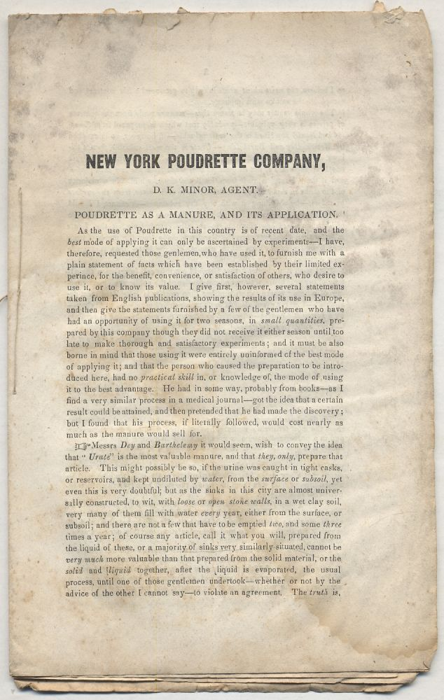 [Caption title]: New York Poudrette Company, D.K. Minor, Agent. Poudrette as a Manure, and it's Application [bound with]: D.K. Minor's Reply to Anthony Dey