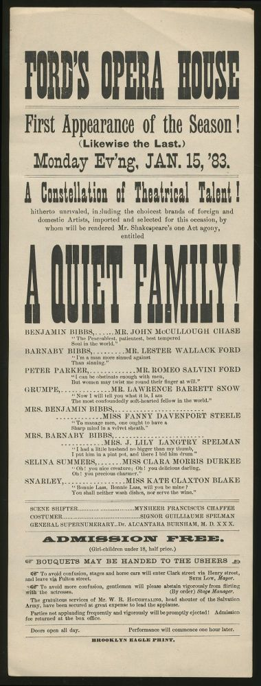 [Broadside]: Ford's Opera House. First Appearance of the Season!...Monday Ev'ng, Jan. 15, '83...A Quiet Family!
