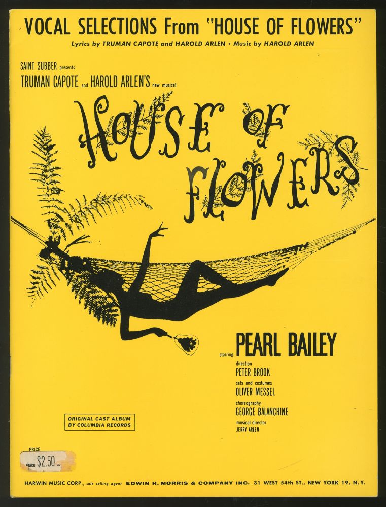 """Vocal Selections from the Off-Broadway Musical """"House of Flowers"""" Truman CAPOTE, Harold Arlen."""