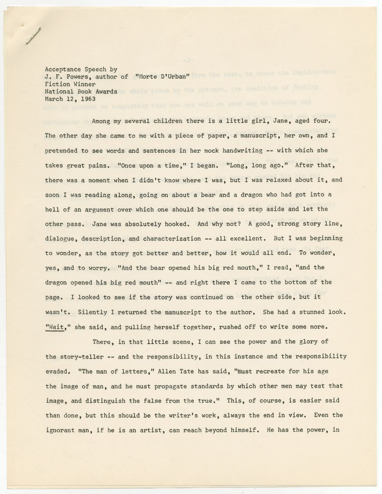 """Acceptance Speech by J.F. Powers, author of """"Morte D'Urban"""" Fiction Winner National Book Awards March 12, 1963. J. F. POWERS."""