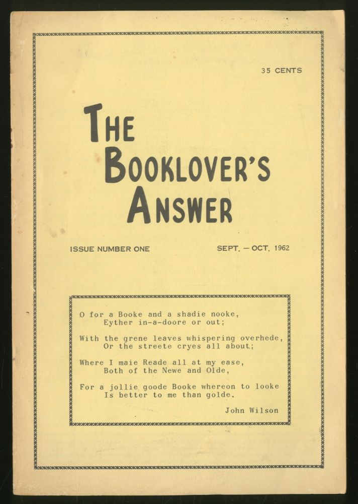 The Booklover's Answer Issue Number One, Sept.-Oct. 1962