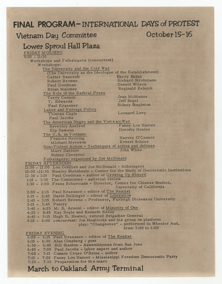 [Broadsheet]: Final Program - International Days of Protest. Vietnam Day Committee. October 15-16. Lower Sproul Hall Plaza