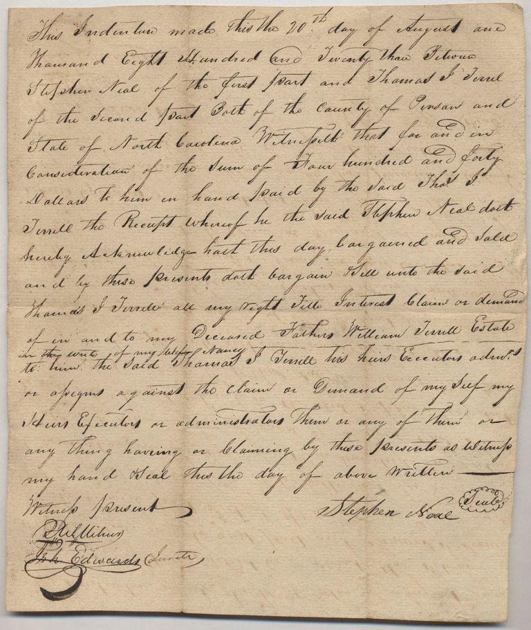 Autograph Document Signed for sale of land in North Carolina, 1820. Stephen NEAL, etc, Thomas J. Terril.