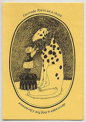 Gertrude Stein as a child decorates a dog for Christmas. Edward GOREY.