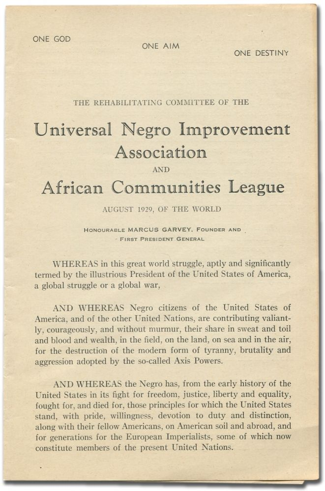 The Rehabilitating Committee of the Universal Negro Improvement Association and African...