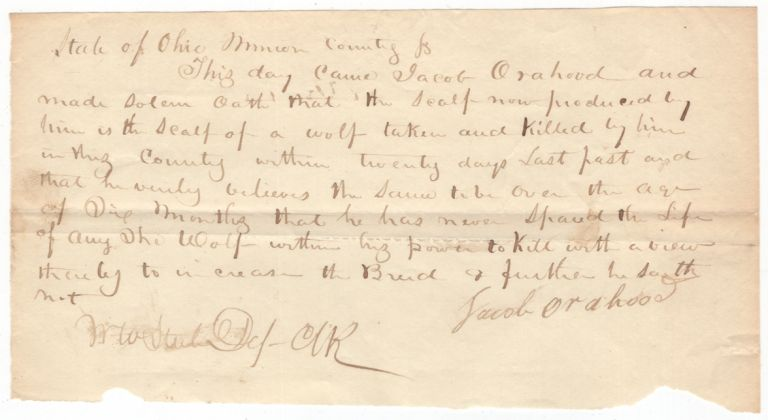 (Autograph Document): Bounty on Wolf Scalps