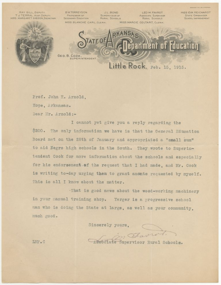 """[Typed Letter Signed (in facsimile)]: Maintaining the """"Separate, but equal"""" secondary schools in Arkansas. Leo FAVROT."""