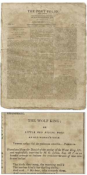 """The Wolf King; or Little Red Riding Hood: An Old Woman's Tale,"" [ballad in] The Port Folio; Enlarged (June 5th - 26th, 1802)"