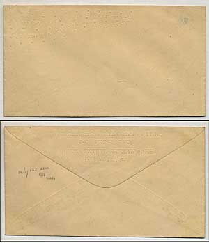 "[Presidential campaign envelope]: ""Hon. Abraham Lincoln of Ill. for President, Hon. Hannibal Hamlin of Me. for V. Pres."" on back, further embossed on front at top left ""Slavery Sectional, Freedom National, Union & Liberty, Onward to Victory"""