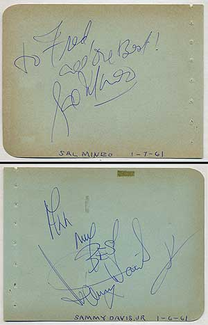 Autographed Album Leaf Signed by Sal Mineo and Sammy Davis, Jr.