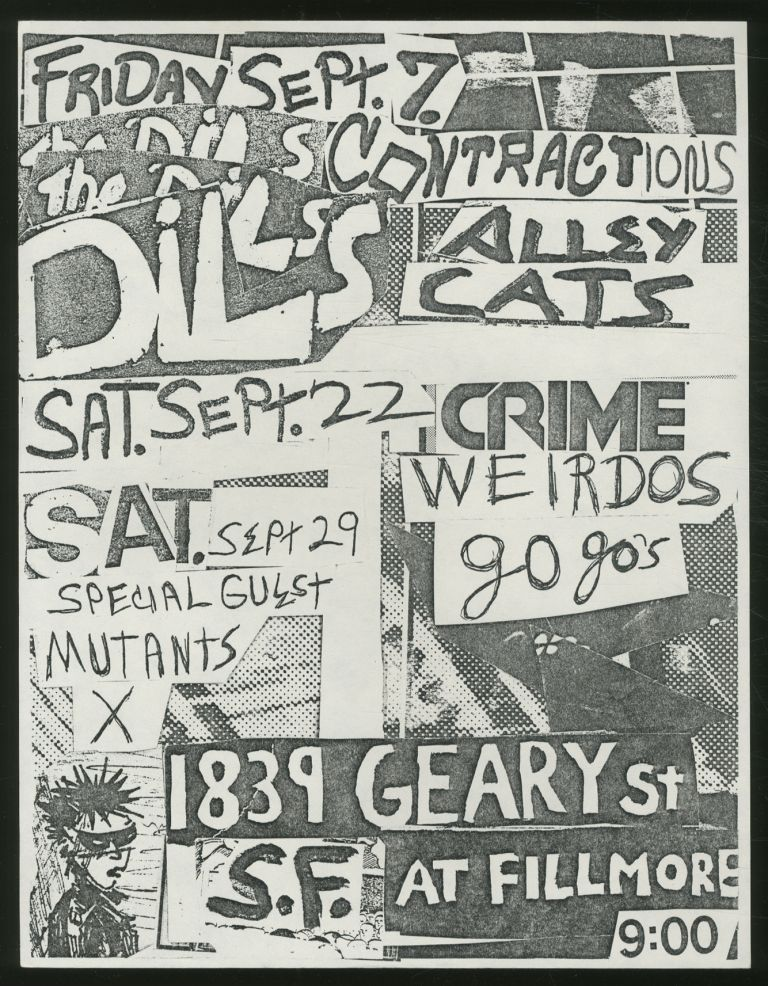 [Punk Flyer]: Filmore 1839 Geary St. Dils Contractions, and X., Mutants, Go Go's, Weirdos, Crime, Alley Cats.