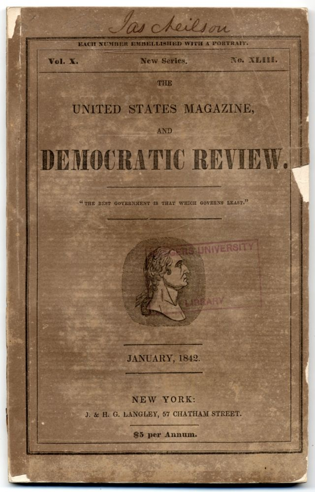 """""""The Tomb Blossoms"""" [story in] The United States Magazine and Democratic Review (January, 1842). Walt WHITMAN."""