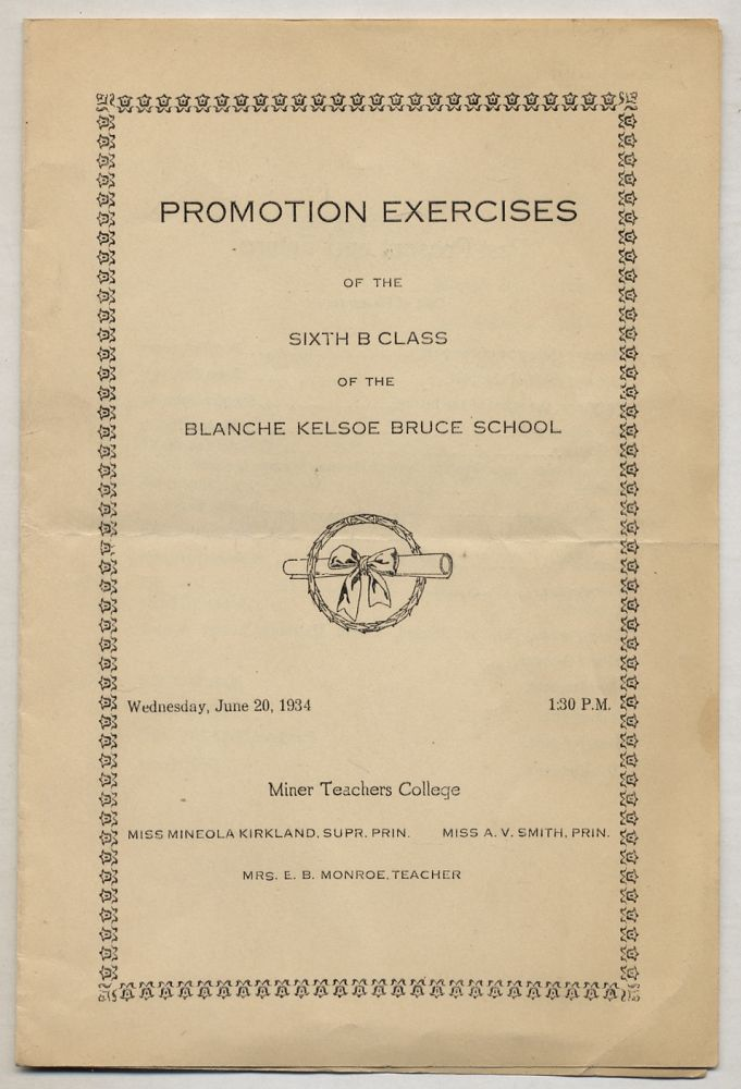 [Cover title]: Promotion Exercises of the Sixth B Class of the Blanche Kelso Bruce School