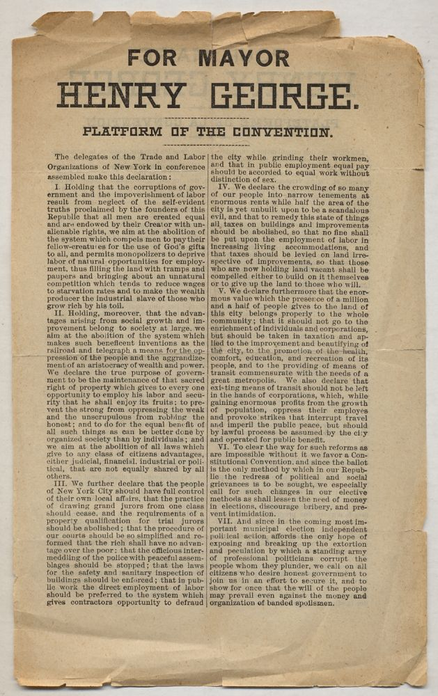 Broadsheet]: For Mayor Henry George. Platform of the Convention [verso] Pour Maire Henry George....