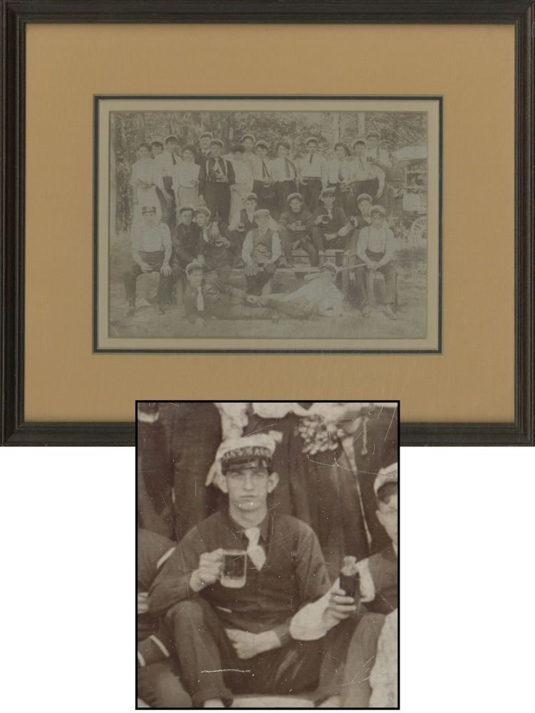 Framed Vintage Group Photograph of Baseball Outing