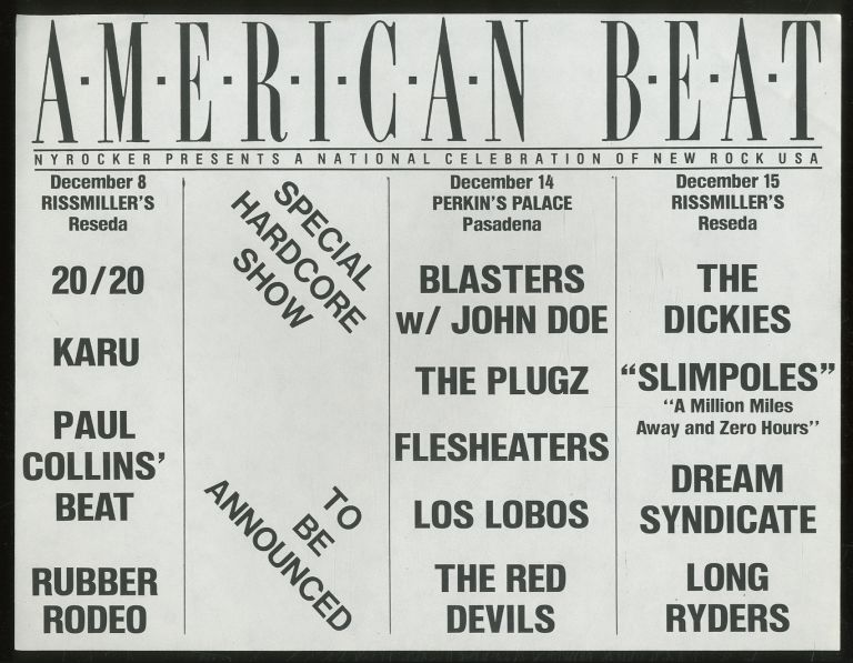 """[Punk Flyer]: American Beat; NYRocker Presents a National Celebration of New Rock USA. Karu 20/20, Long Ryders, Dream Syndicate, """"Slimpoles"""", The Dickies, The Red Devils, Los Lobos, Fleshheaters, The Plugz, Blasters, Rubber Rodeo, Paul Collins' Beat."""