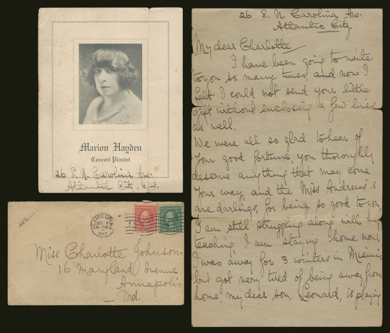 Handwritten Letter from Pianist Ms. Marion Hayden to Charlotte Andrews Johnson with a Copy of Marion Hayden's Recital Press Release and Accompanied by a two page handwritten biography of Charlotte Armstrong by African American Art Historian and Curator Carroll Greene. HAYDEN, Charlotte Andrews Johnson Marion, Carroll Greene.