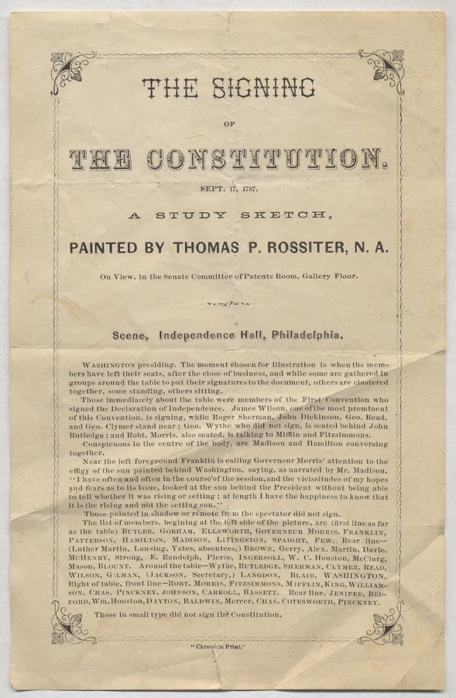 Handbill or Program]: The Signing of the Constitution. Sept. 17, 1787. A Study Sketch, Painted by...