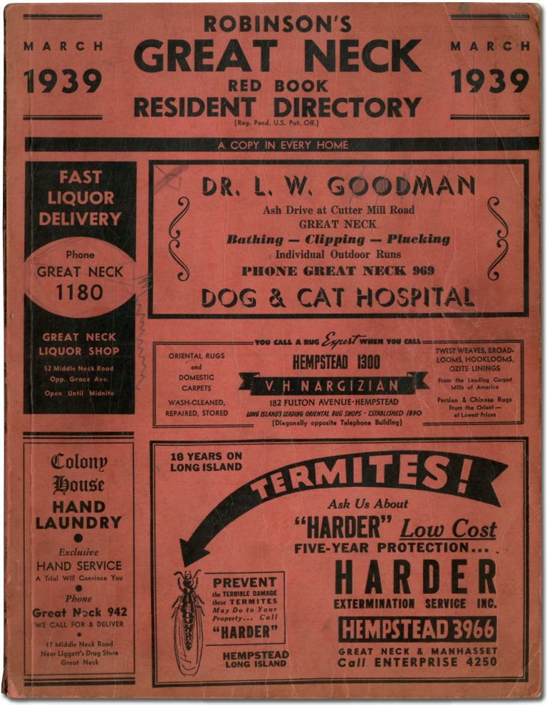Business and Phone Directory]: Robinson's Great Neck Red Book Resident Directory. March 1939