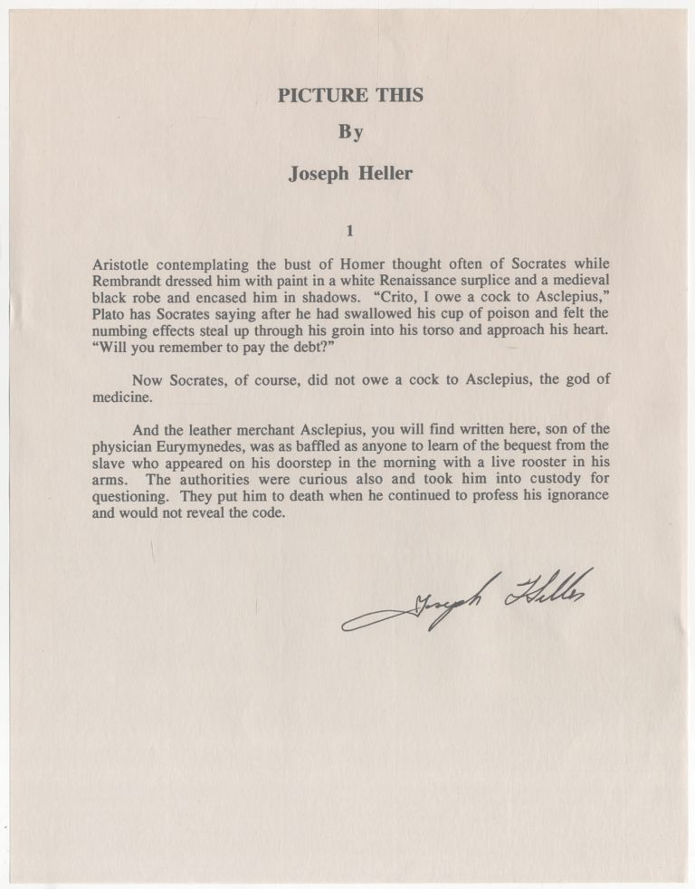"Typed Excerpt Signed (""Joseph Heller"") from ""Picture This"" Joseph HELLER."