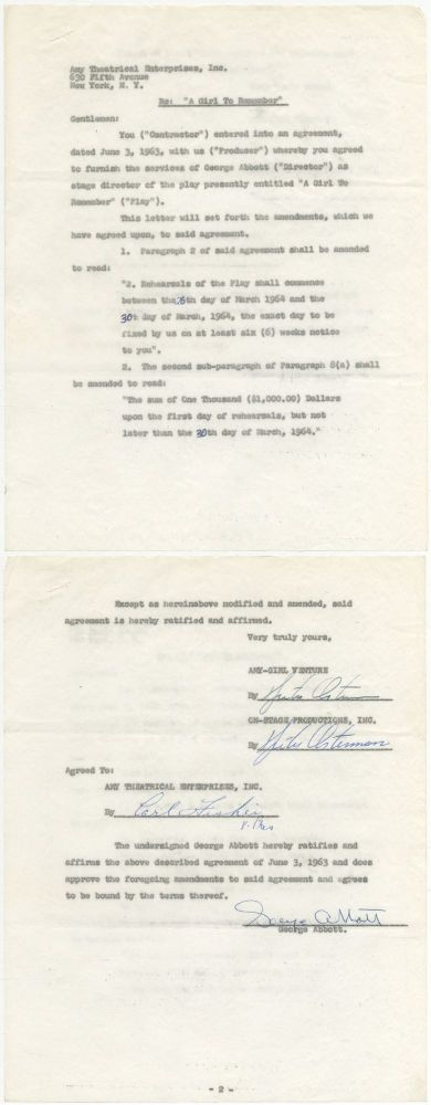 "Partially Printed Contract Signed (""George Abbott""). George ABBOTT."