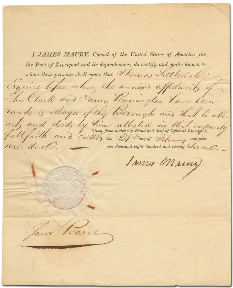 Partially Printed Document Signed. James MAURY.