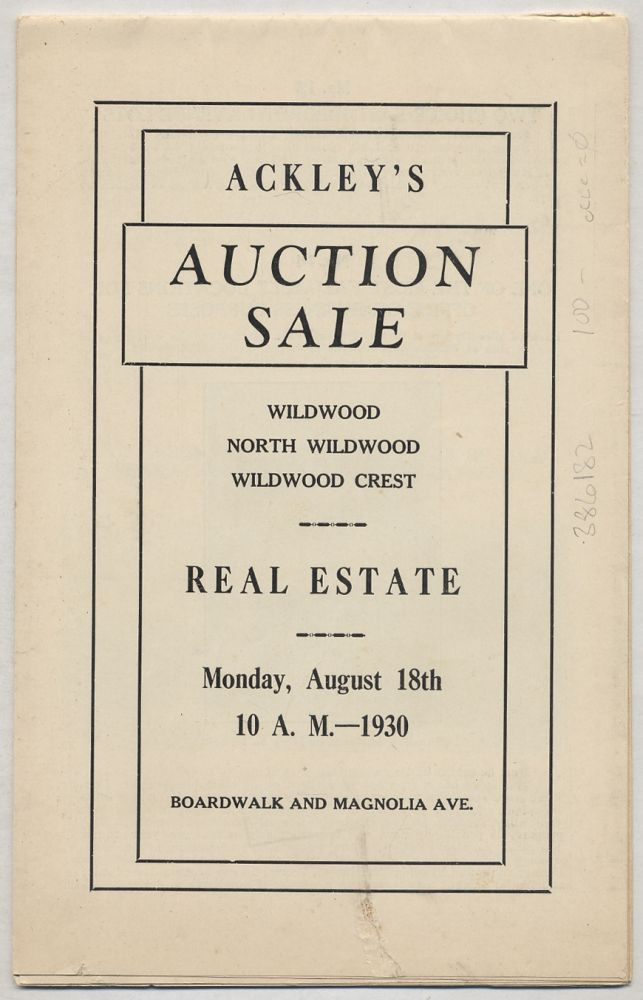 Catalogue Ackley's 28th Annual Combination Auction Sale. Wildwood, North Wildwood, Wildwood Crest Real Estate