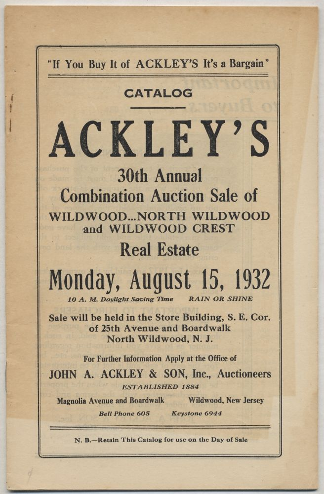 Catalog Ackley's 30th Annual Combination Auction Sale of Wildwood, North Wildwood and Wildwood Crest Real Estate