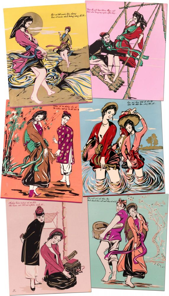 [Archive]: A Collection of Six Vietnamese Silk Screen Posters. Ho Xuan Huong?