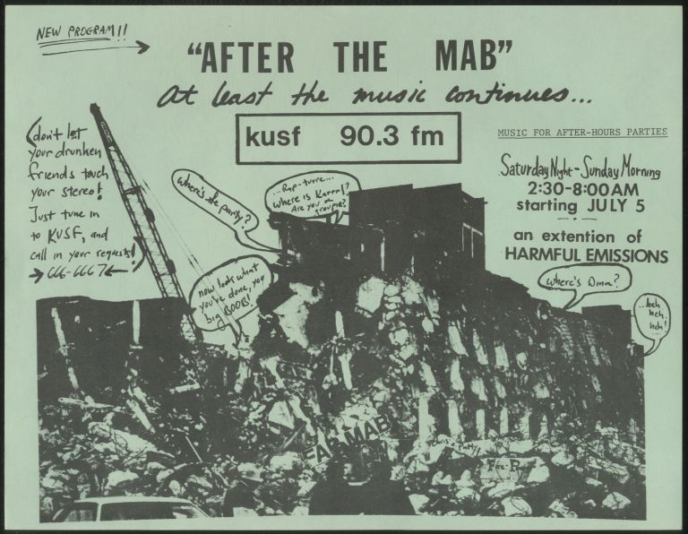 """[Punk Flyer]: """"After the Mab"""" at Least the Music Continues... KUSF 90.3 fm"""