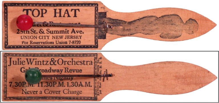 Noisemaker or Clacker for the Top Hat Cabaret & Restaurant in Union City, New Jersey